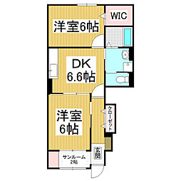 長野県松本市寿中1丁目の賃貸アパートの間取り
