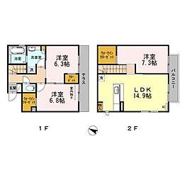 福岡県福岡市中央区小笹3丁目の賃貸アパートの間取り