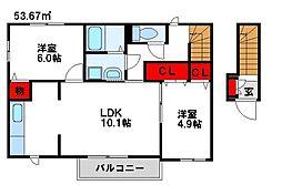 福岡県遠賀郡水巻町下二西1丁目の賃貸アパートの間取り
