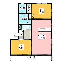 草薙ヒルズ A[1階]の間取り