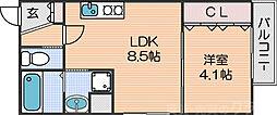 Osaka Metro四つ橋線 花園町駅 徒歩4分の賃貸アパート 1階1LDKの間取り