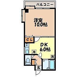 マイルーム梁川[402号室]の間取り