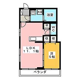 OKUEII 2階1LDKの間取り