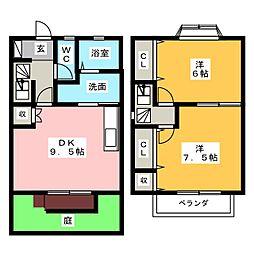 [テラスハウス] 愛知県小牧市緑町 の賃貸【/】の間取り