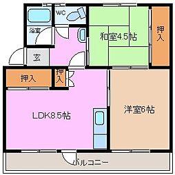 三重県四日市市山分町の賃貸マンションの間取り