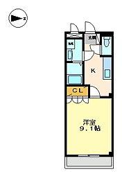 兵庫県三田市三輪4丁目の賃貸アパートの間取り