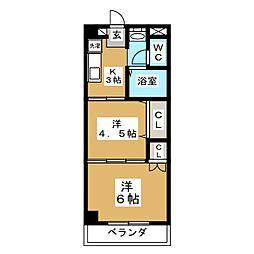 ヴァンクール小田原[2階]の間取り