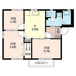 ペルヴィルE[2階]の間取り