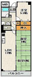 ラフィネ芳樹[4階]の間取り