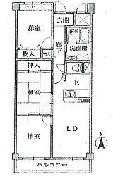 エスパシオ武庫之荘[102号室]の間取り