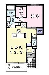 滋賀県甲賀市甲南町野田の賃貸アパートの間取り