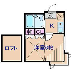 神奈川県横浜市港北区富士塚2丁目の賃貸アパートの間取り