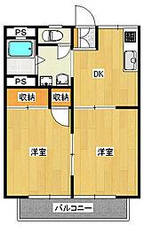 石井町 2DK アパートB棟[2階]の間取り