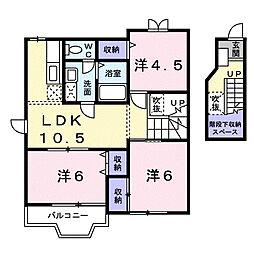 埼玉県行田市長野2丁目の賃貸アパートの間取り