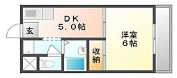 岡山県総社市中央2丁目の賃貸アパートの間取り