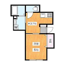 京王井の頭線 池ノ上駅 徒歩9分の賃貸アパート 1階1Kの間取り