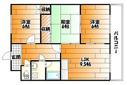広島県広島市安佐南区山本2丁目の賃貸マンションの間取り