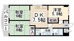 中島マンション[302号室]の間取り