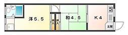 明日香ビル 3階2Kの間取り