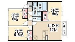 グランボヌール花屋敷A棟[1階]の間取り