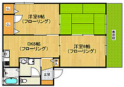 福岡県福岡市西区上山門2の賃貸アパートの間取り