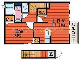 JR山陽本線 庭瀬駅 徒歩9分の賃貸アパート 1階1Kの間取り