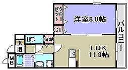 エトワール観音寺[201号室]の間取り