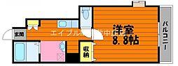 水島臨海鉄道 球場前駅 徒歩14分の賃貸アパート 1階1Kの間取り