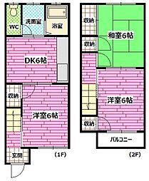 [タウンハウス] 広島県広島市安芸区矢野西4丁目 の賃貸【/】の間取り