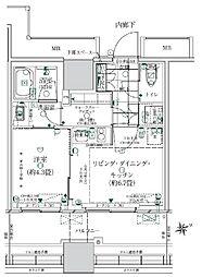 ローレルタワールネ浜松町 3階1LDKの間取り