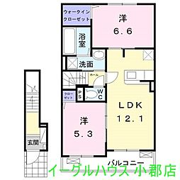 大刀洗町鵜木アパート 2階2LDKの間取り
