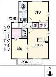 セジュールKATAHA A棟[1階]の間取り