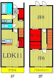 [テラスハウス] 千葉県柏市大室3丁目 の賃貸【/】の間取り