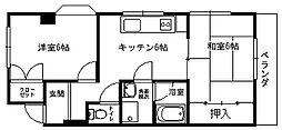 小沢ハイツ 3階2DKの間取り