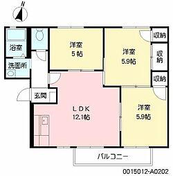 福岡県北九州市八幡西区浅川2丁目の賃貸アパートの間取り
