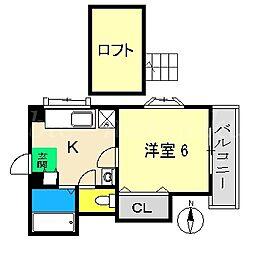 岩崎ハイツII[3階]の間取り