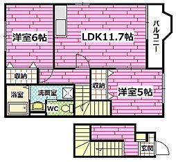 広島県安芸郡熊野町出来庭5丁目の賃貸アパートの間取り
