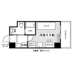 学生会館 グランデュール5仙台[食事付き] 5階ワンルームの間取り