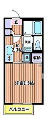 東京都立川市柴崎町2丁目の賃貸アパートの間取り