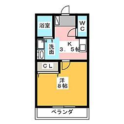 愛知県尾張旭市根の鼻町2丁目の賃貸アパートの間取り