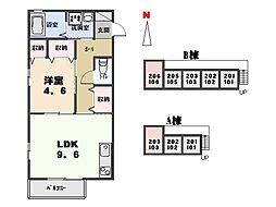 群馬県太田市尾島町の賃貸アパートの間取り