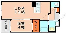 JR篠栗線 門松駅 徒歩15分の賃貸マンション 1階1LDKの間取り
