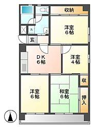 ハイツ東桜[4階]の間取り