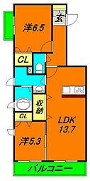 京阪本線 門真市駅 徒歩10分の賃貸マンション 2階2LDKの間取り
