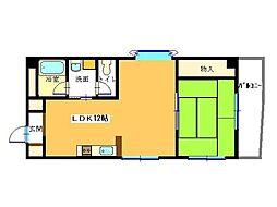 オクタ8番館(最上階、両隣に部屋なし)[302号室]の間取り