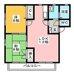 ピーチカーサ B棟[1階]の間取り