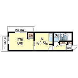 新潟県新潟市中央区上大川前通7番町の賃貸マンションの間取り