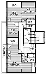 ビレッジハウス大楽毛3号棟 3階3LDKの間取り