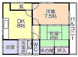 [一戸建] 福岡県久留米市上津2丁目 の賃貸【福岡県 / 久留米市】の間取り