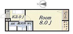 サーナギマンション[4階]の間取り